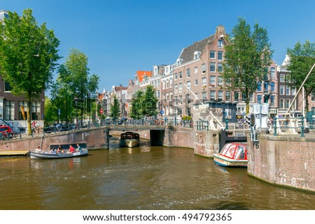 Amsterdam, The Netherlands - August 27, 2016: Excursions by boat on the canals of Amsterdam. Favorite place for walking and leisure travelers.