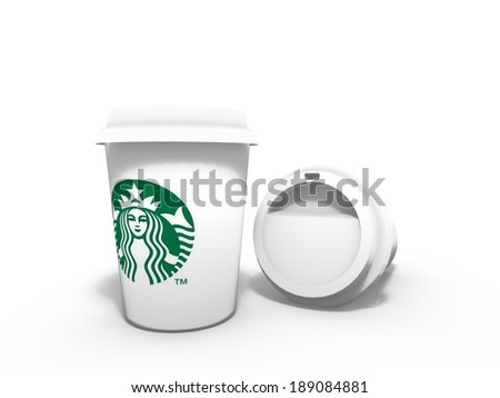 AMSTERDAM, THE NETHERLANDS, CIRCA APRIL 2014 - Couple of Starbucks coffee cups. The American coffeehouse announced to move its European headquarters from Amsterdam, Netherlands, to the United Kingdom. - stock photo