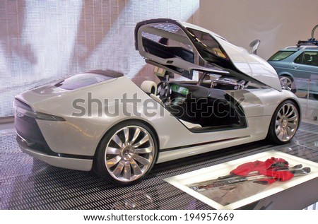 AMSTERDAM, THE NETHERLANDS, CIRCA 2010 - Saab concept car on display. - stock photo