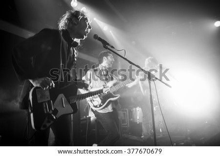 Amsterdam, The Netherlands - 11 february 2016: Canshaker Pi is performing as 1st act before the concert of Indie-rock Dutch trio Bombay for their Album Release Show at venue OT301 - stock photo