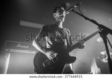 Amsterdam, The Netherlands - 11 february 2016: concert of Dutch indie rock trio Bombay for their Album Release Show at venue OT301 - stock photo