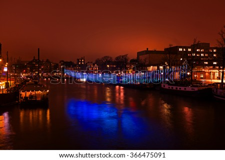 AMSTERDAM, THE NETHERLANDS - January 4, 2016: Light festival in Amsterdam the Netherlands