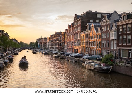 Amsterdam The Netherlands- June 12: Prinsengracht canal a beautiful sunset on June 12, 2015. - stock photo