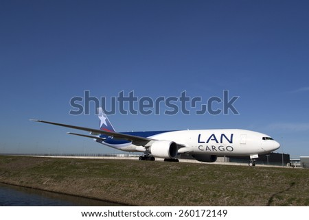 AMSTERDAM, THE NETHERLANDS - Maart 11, 2015 :.Boeing 777-300ER from LAN Cargo is one of the 10 Boeing 777 that has this airline On maart 11 , 2015 in Amsterdam, Holland.  - stock photo