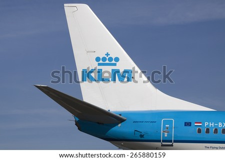 AMSTERDAM, THE NETHERLANDS - Maart 11, 2015 :Close up photo of the Tail of a KLM boeing on a sunny clear day  On maart 11 , 2015 in Amsterdam, Holland.