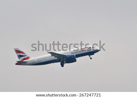 AMSTERDAM, THE NETHERLANDS, 26 MARCH 2015 - Airplane from British Airlines departing from Amsterdam, Schiphol, The Netherlands. - stock photo