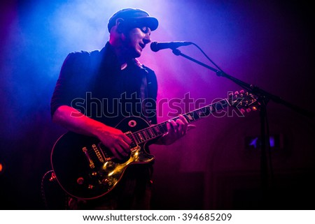 Amsterdam, The Netherlands, 18 March, 2016: concert of Swiss folk rock band 77 Bombay Street at venue Paradiso - stock photo