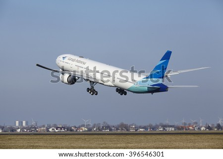 AMSTERDAM, THE NETHERLANDS - MARCH, 13. The Garuda Indonesia Boeing 777-3U3(ER) with identification PK-GIC takes off at Amsterdam Airport Schiphol (The Netherlands, AMS), Polderbaan on March 13, 2016.