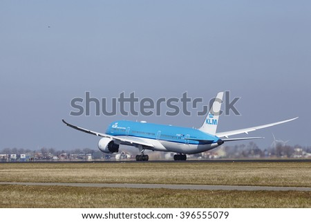 AMSTERDAM, THE NETHERLANDS - MARCH, 13. The KLM Boeing 787-9 Dreamliner with identification PH-BHD takes off at Amsterdam Airport Schiphol (The Netherlands, AMS), Polderbaan on March 13, 2016.