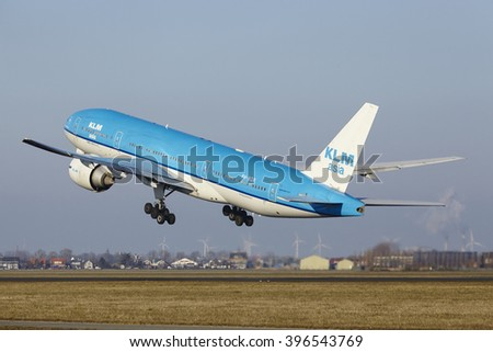 AMSTERDAM, THE NETHERLANDS - MARCH, 13. The KLM Boeing 777-206(ER) (KLM Asia livery) with identification PH-BQK takes off at Amsterdam Airport Schiphol (The Netherlands, AMS) on March 13, 2016.