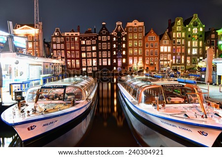 Amsterdam, The Netherlands - November 7, 2014. Amsterdam is the capital city and most populous city of the Kingdom of the Netherlands. - stock photo