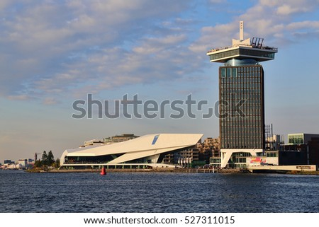 Amsterdam, The Netherlands - October 16, 2016: The EYE Film museum on the waterfront of Amsterdam, The Netherlands on October 16, 2016