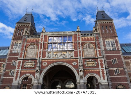 AMSTERDAM,The NETHERLANDS.October,17,2013:Two tower of the Rijksmuseum Amsterdam.The museum first opened to the public in 1800,famous for its collection of 17th century masters. - stock photo