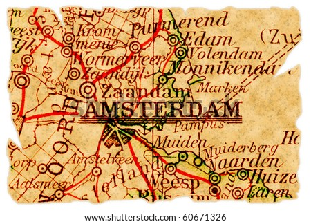 Amsterdam, The Netherlands on an old torn map from 1949, isolated. Part of the old map series. - stock photo