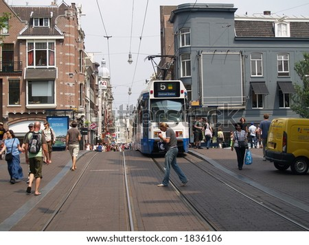 Amsterdams city scape, people walking and tram