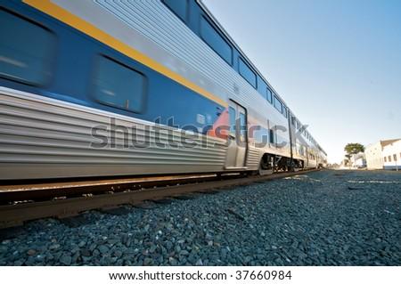 Amtrak Train Blue Sky in Berkeley - stock photo
