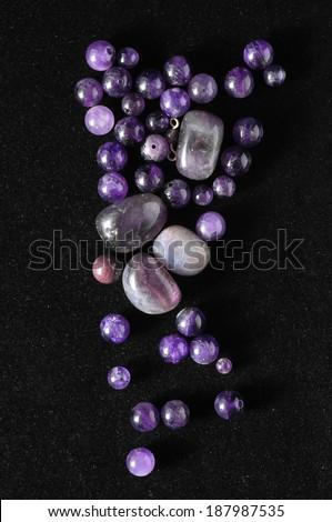 Amulet Amethyst Stone Ready to Make Handmade Jewelry - stock photo