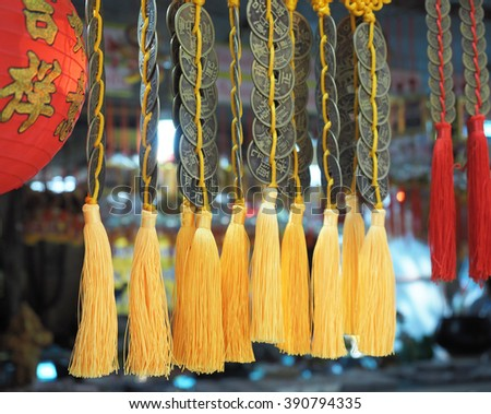 Amulets at a Temple - stock photo