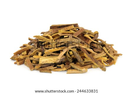 Amur cork tree bark herb used in chinese herbal medicine over white background. Huang Bai. - stock photo