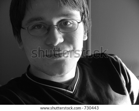 amused young man - stock photo