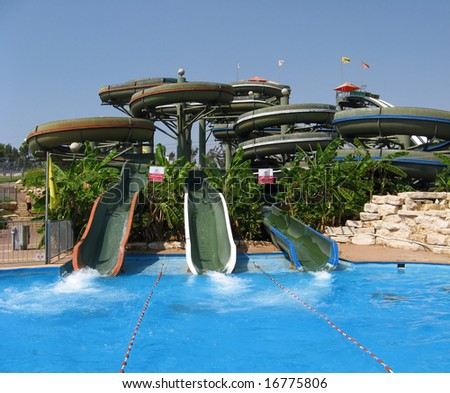 Amusement aqua-park - stock photo