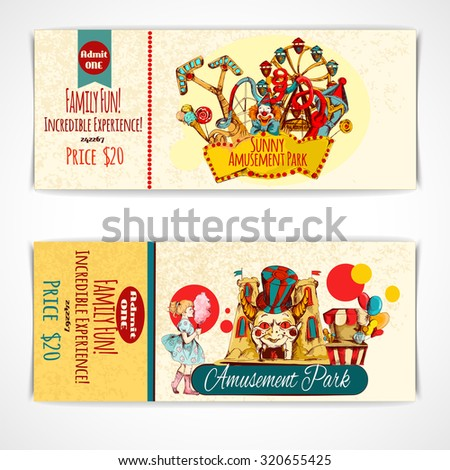 Amusement fun festival park tickets hand drawn set isolated  illustration - stock photo