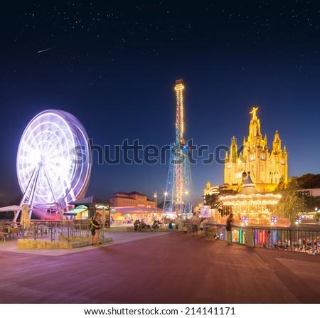 Amusement Park and Temple at Tibidabo, Barcelona, Spain - stock photo