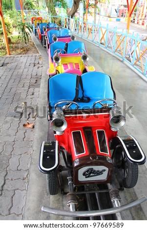 amusement park car retro - stock photo