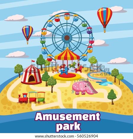 Amusement Park Concept Cartoon Illustration Amusement ...