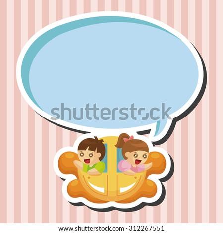 Amusement park facilities, cartoon speech icon - stock photo
