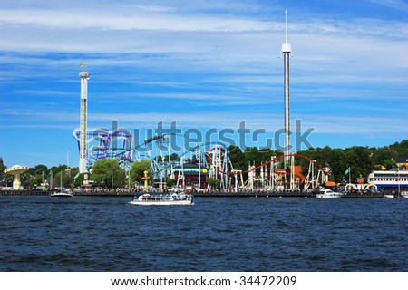 Amusement park in Stockholm on sunny summer day - stock photo