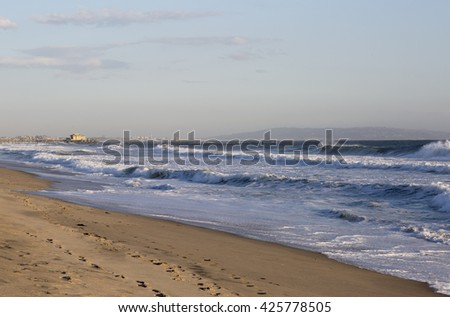 Amusement Park on the Pacific ocean, the beach landscape. The ocean, beach and blue sky in USA, Santa Monica. - stock photo