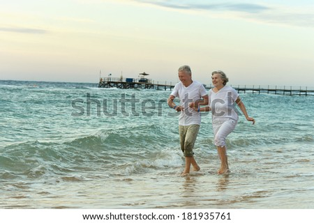 Amusing elderly couple went to the beach to have a walk by sea - stock photo