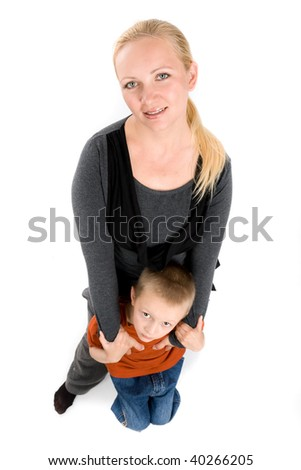 Amusing portrait of young mother and her son on a white background