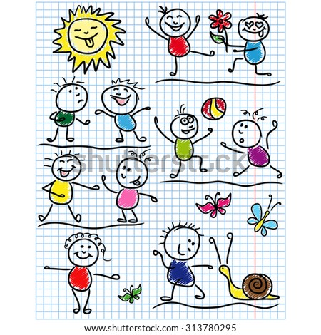 Amusing scenes with smiling sun and set of several kid figures, sketching colored cartoon artwork as a childish drawing on a sheet of school copybook - stock photo