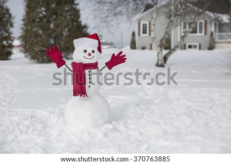 Amusing snowman on a mild winter day