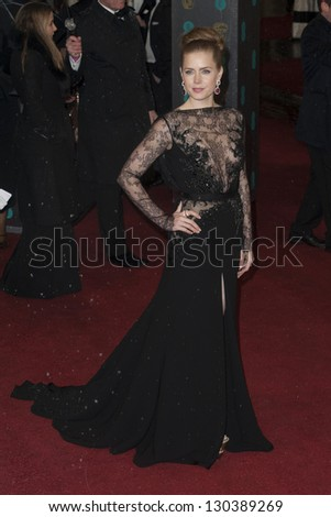 Amy Adams arriving for the EE BAFTA Film Awards 2013 at the Royal Opera House, Covent Garden, London. 10/02/2013 Picture by: Simon Burchell - stock photo
