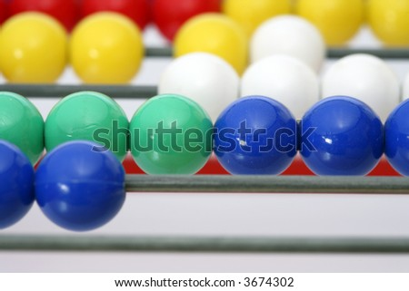 an abacus with colorful balls