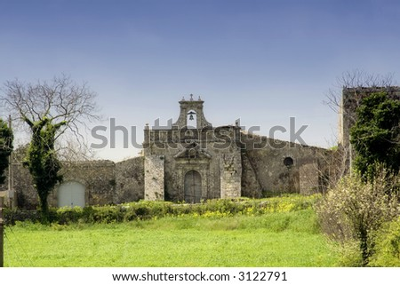 An  Abandoned ancient rural church in the sicilian country - stock photo