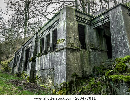 An abandoned Gothic style concrete building surrounded by woodland. - stock photo