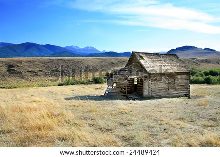 An abandoned homestead on a prairie in Montana. - stock photo