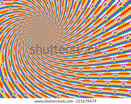 An abstract and colorful digitally generated spiral background - stock photo