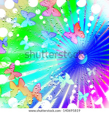 An abstract background illustration of butterflies and drops of rain. - stock photo