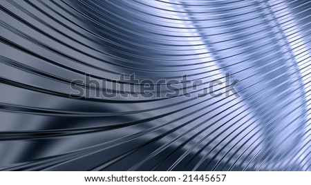 An abstract background in the form of three-dimensional model of corrugated sheet metal, reflecting light - stock photo