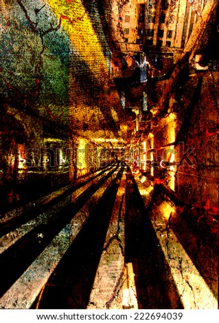 An abstract background photo manipulation of a perspective down an industrial hallway. - stock photo