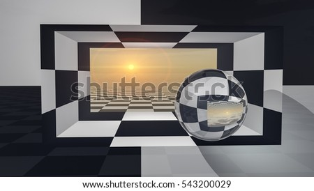 An abstract background with crystal ball on checkered hall sunset, 3d illustration.