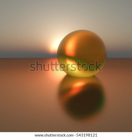 An abstract background with gold pearl on calm sea sunset, 3d illustration.