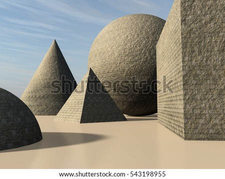 An abstract background with primitive cone, pyramid, sphere and cube shapes made of stone bricks, 3d illustration.