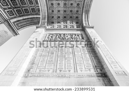 An abstract black and white photo of Arc de Triumph, Paris - stock photo