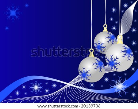 An abstract Christmas illustration with silver baubles on a darker blue backdrop with white snowflakes and room for text